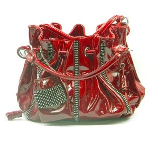 Handbags - Red patent leather with rhinestone shoulder bag